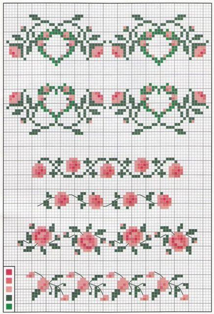 Bordures roses simple grilles point de croix
