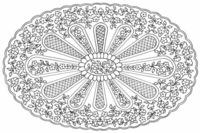 Centre ovale motifs broderie